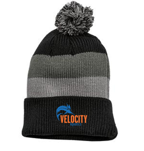 District Black/Grey Vintage Striped Beanie with Removable Pom
